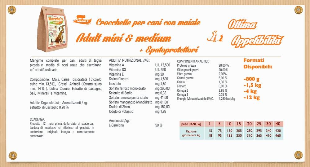 Crocchette Barnie's Infografica valori nutrizionali
