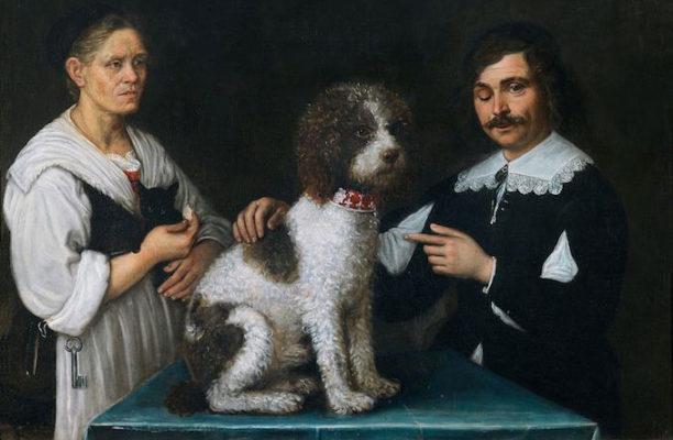Ritratto del Guercino e della madre assieme a un cane Lagotto Romagnolo